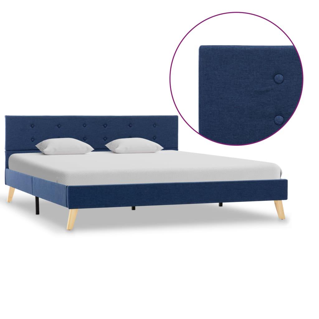 vidaXL Cadru de pat, albastru, 160 x 200 cm, material textil poza 2021 vidaXL