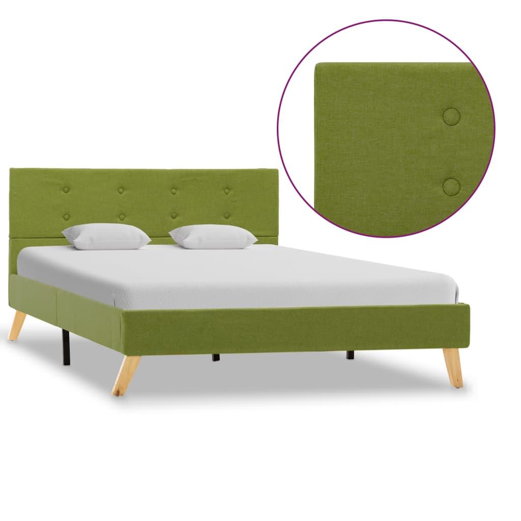 vidaXL Cadru de pat, verde, 120 x 200 cm, material textil vidaxl.ro