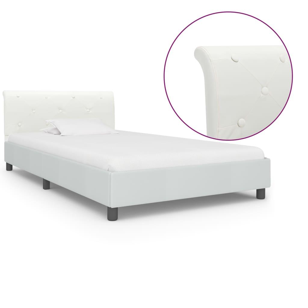 vidaXL Πλαίσιο Κρεβατιού Λευκό 100 x 200 εκ. από Συνθετικό Δέρμα