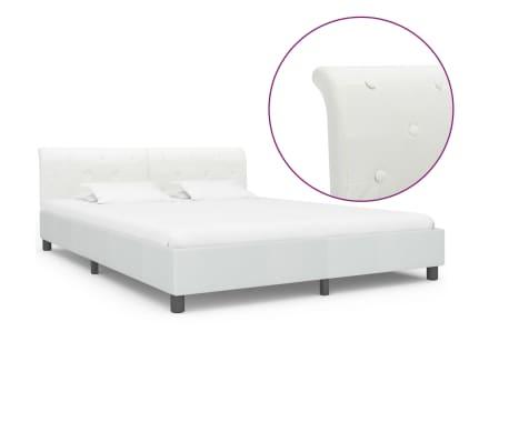 vidaXL Cadru de pat, alb, 180 x 200 cm, piele ecologică