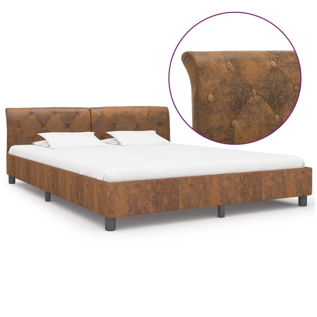 vidaXL Cadru de pat, maro, 180 x 200 cm, piele întoarsă ecologică poza vidaxl.ro