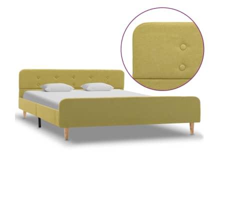 vidaXL Cadru de pat, verde, 140 x 200 cm, material textil