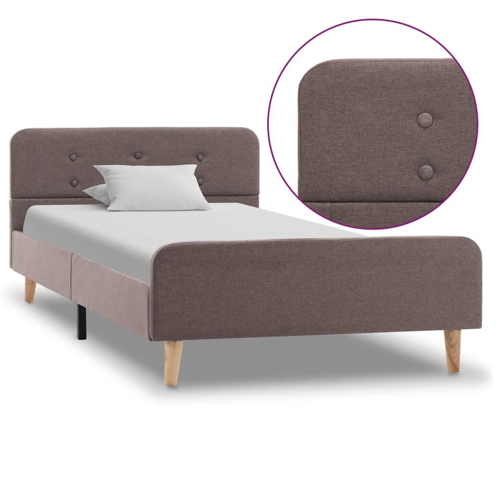 vidaXL Cadru de pat, gri taupe, 100 x 200 cm, material textil vidaxl.ro