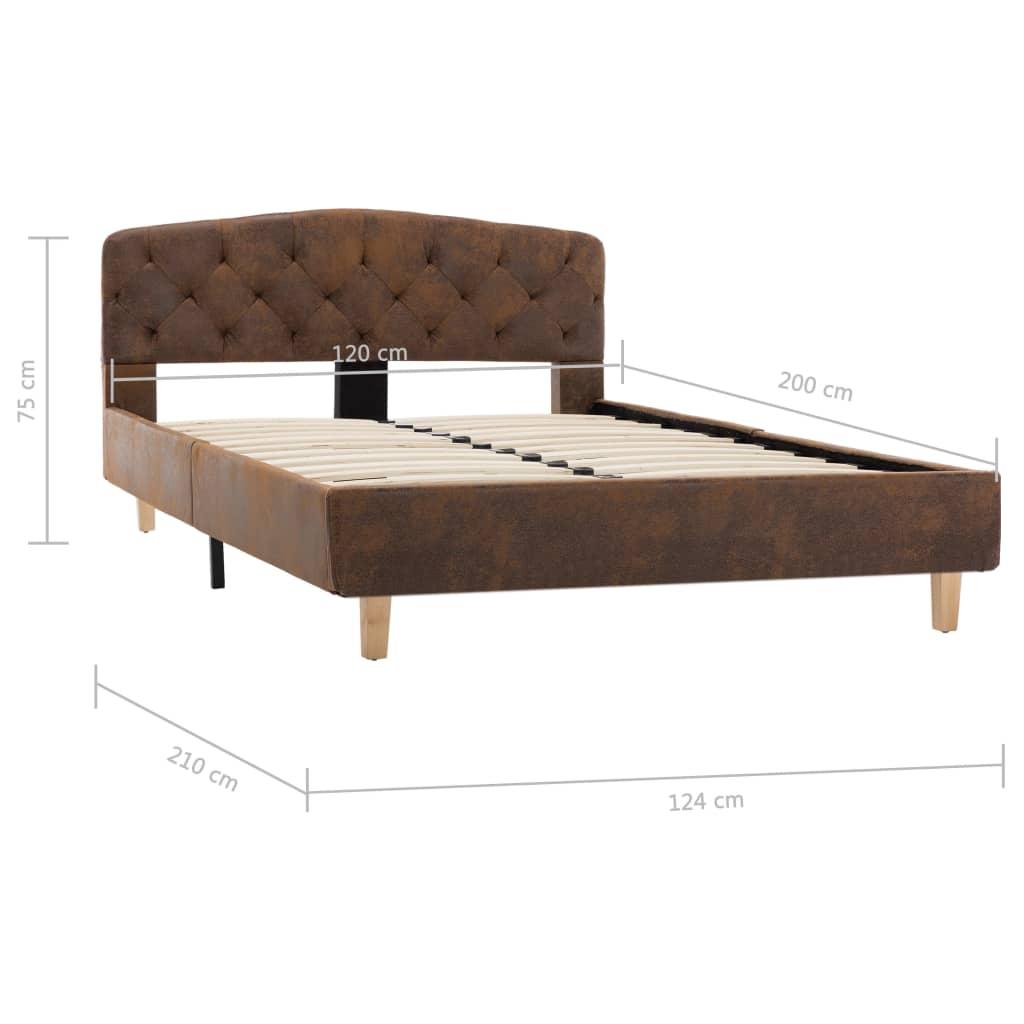 vidaXL Bedframe kunstsuède bruin 120x200 cm