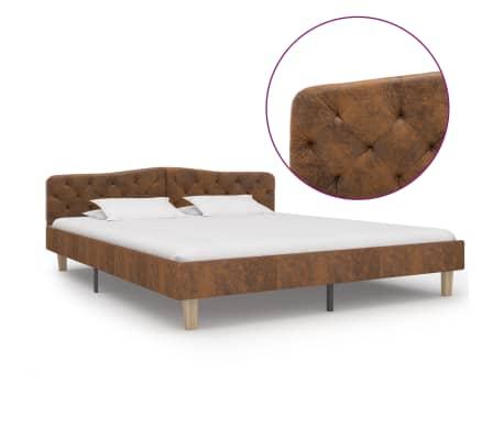 vidaXL Cadru de pat, maro, 180 x 200 cm, piele întoarsă ecologică
