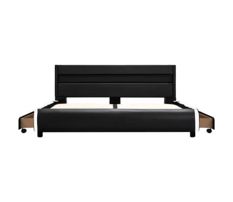 vidaXL Cadre de lit avec LED Noir Similicuir 140 x 200 cm[6/10]