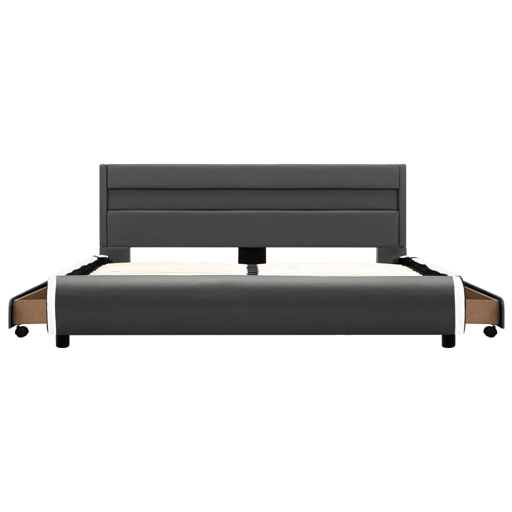 vidaXL Bedframe met LED kunstleer antraciet 120x200 cm