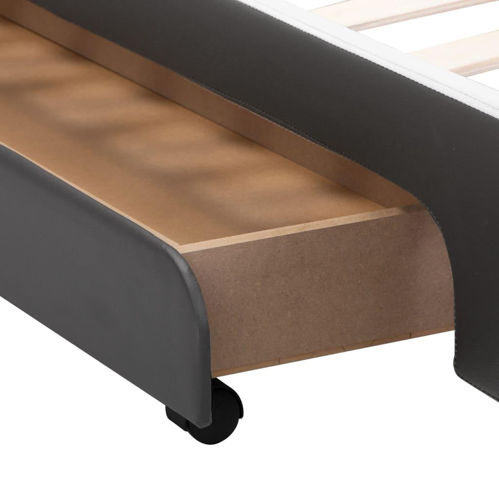 vidaXL Bedframe met LED kunstleer antraciet 160x200 cm