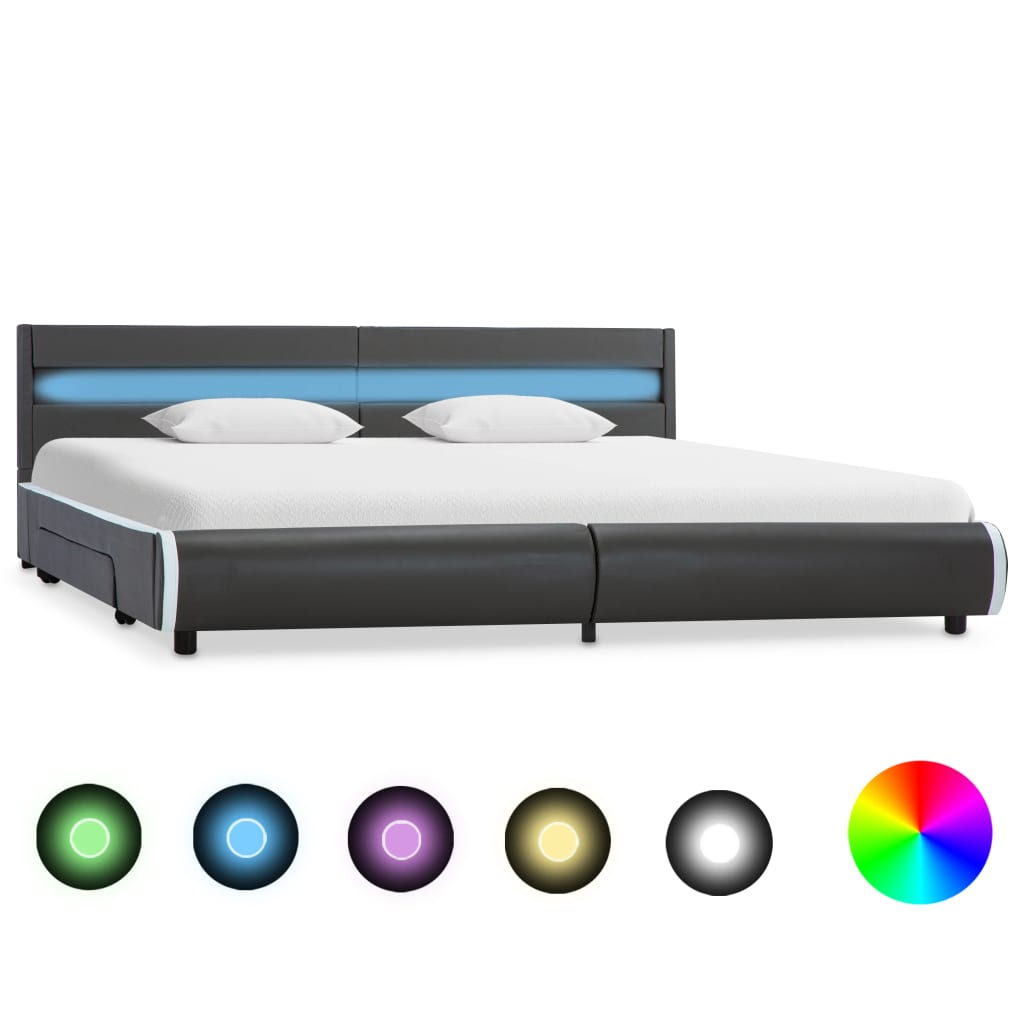 vidaXL Πλαίσιο Κρεβατιού με LED Ανθρακί 180 x 200 εκ. Συνθετικό Δέρμα