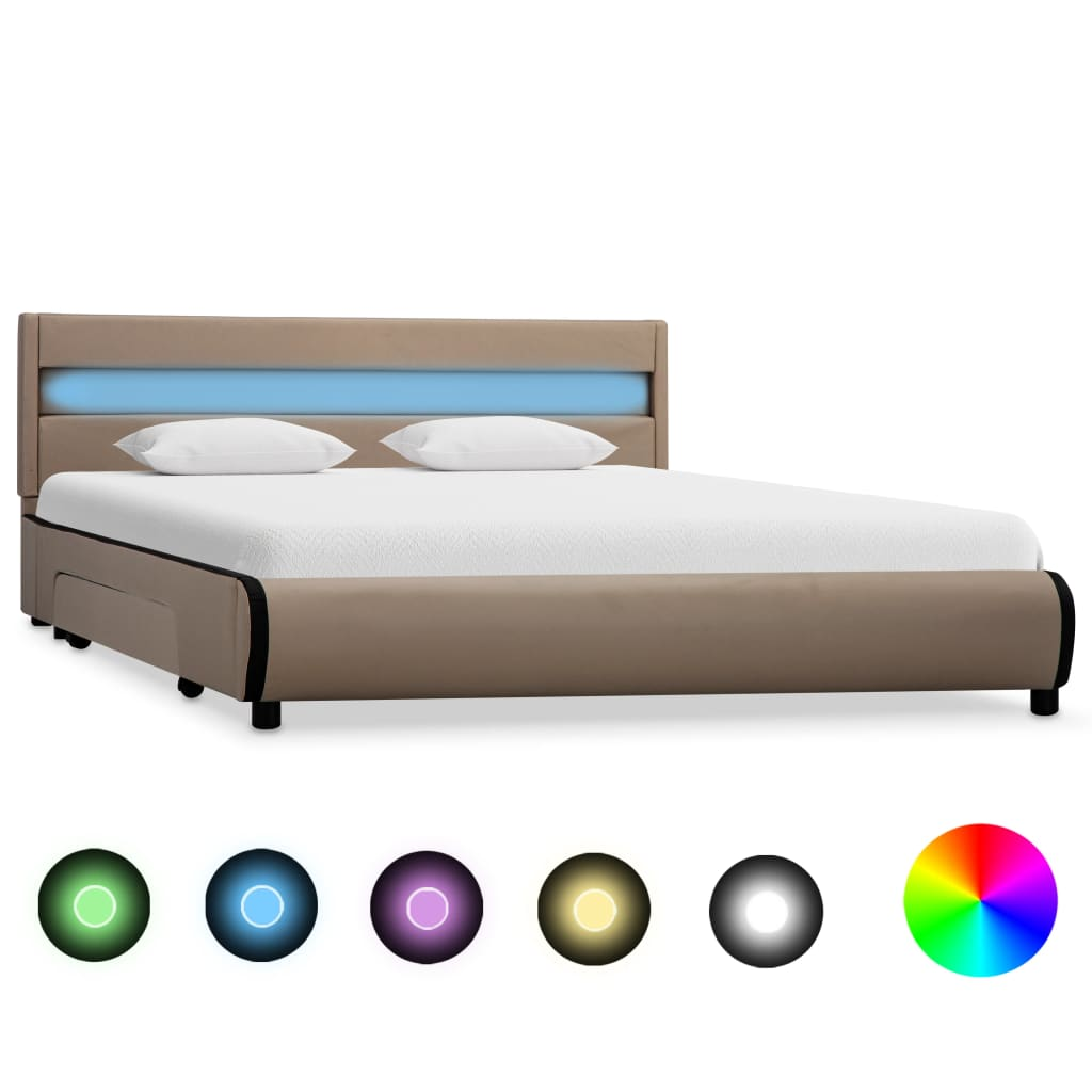 vidaXL Πλαίσιο Κρεβατιού με LED Καπουτσίνο 120×200 εκ. Συνθετικό Δέρμα