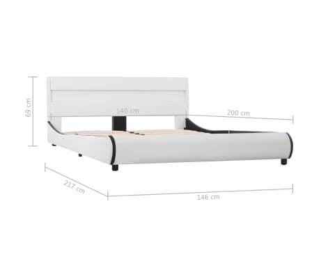 vidaXL Cadre de lit avec LED Blanc Similicuir 140 x 200 cm[9/9]