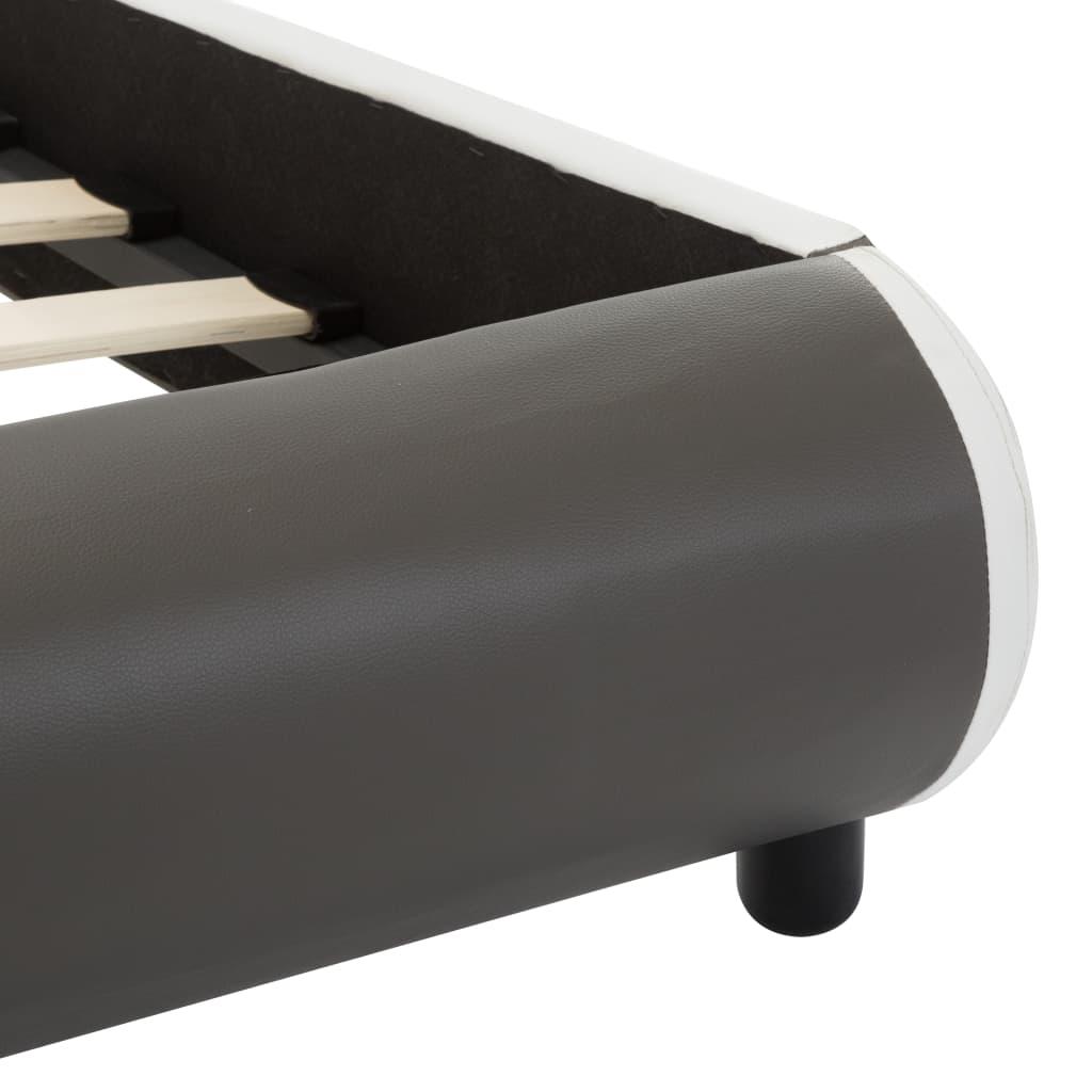 vidaXL Bedframe met LED kunstleer antraciet 90x200 cm