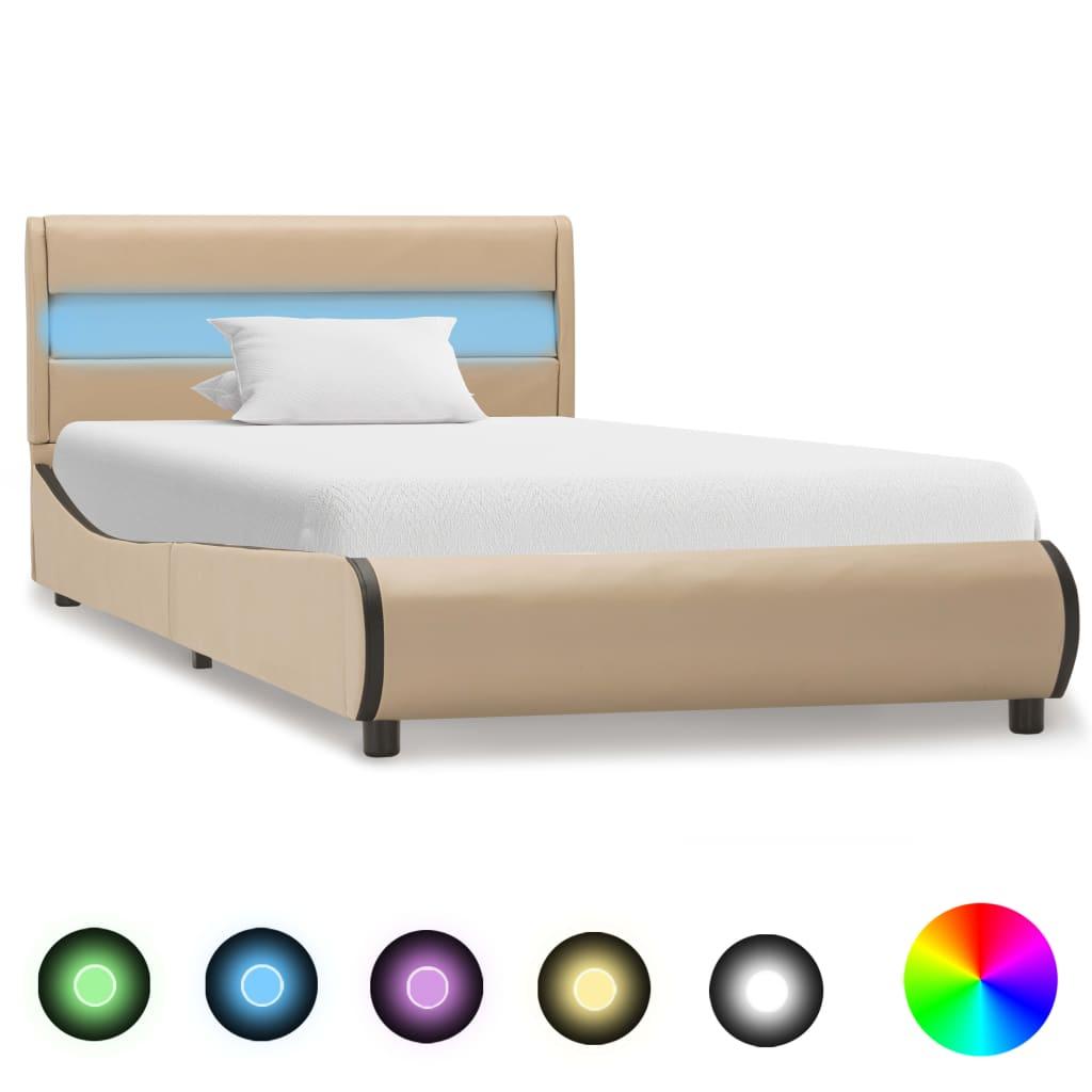 vidaXL Πλαίσιο Κρεβατιού με LED Καπουτσίνο 90×200 εκ. Συνθετικό Δέρμα