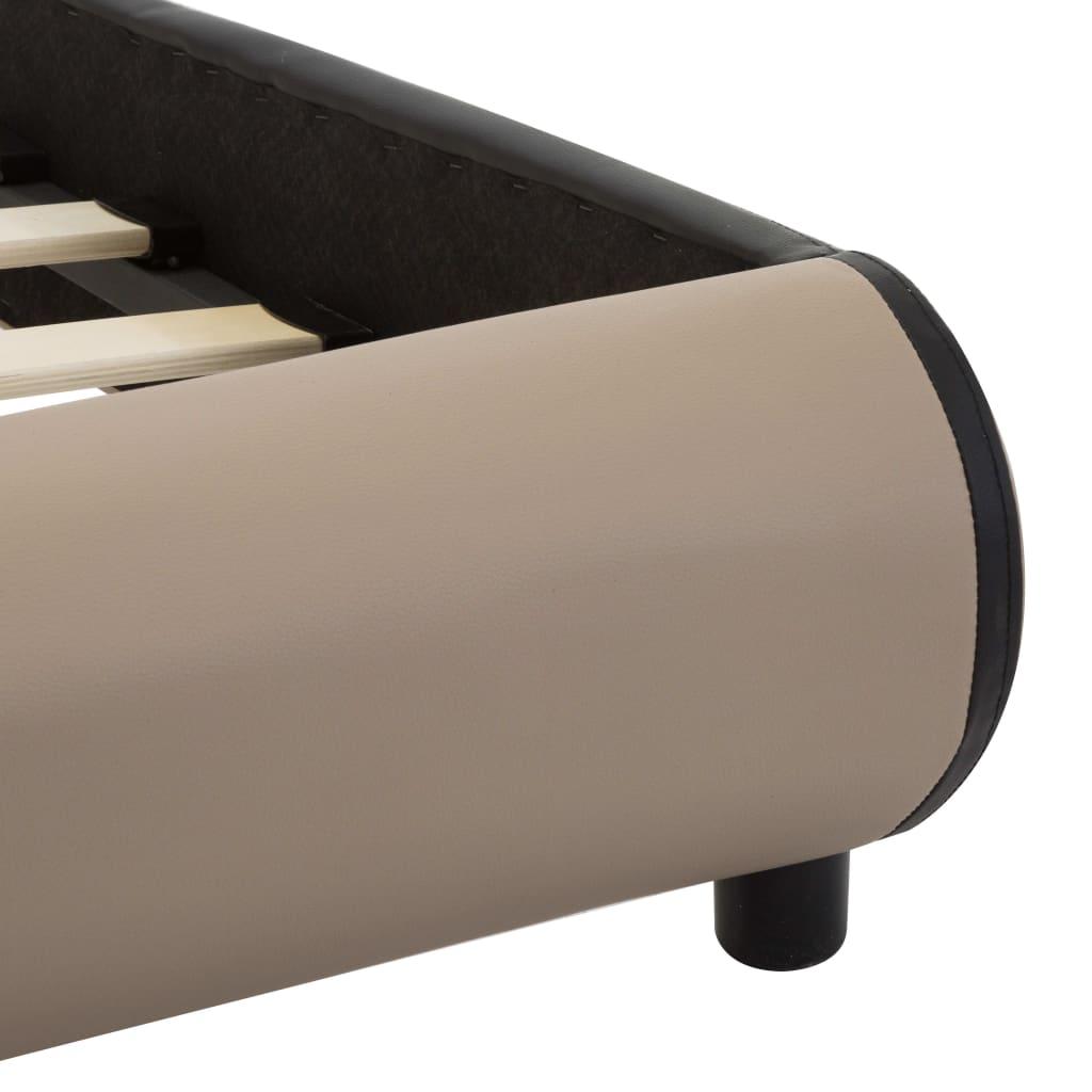 vidaXL Bedframe met LED kunstleer cappuccino 140x200 cm