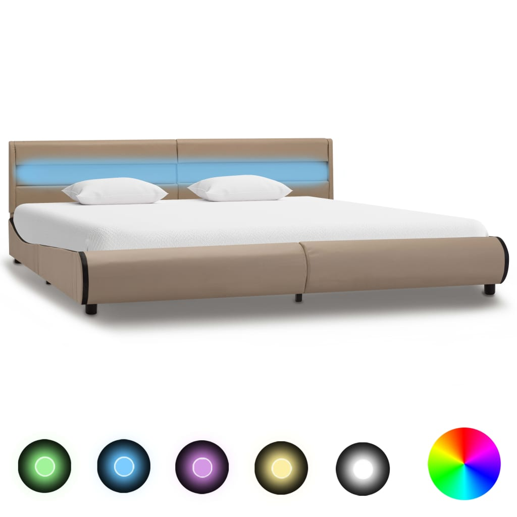 vidaXL Bedframe met LED kunstleer cappuccino 180x200 cm