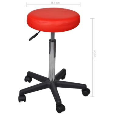 vidaXL Office Stools 2 pcs Red 35.5x98 cm Faux Leather[5/5]