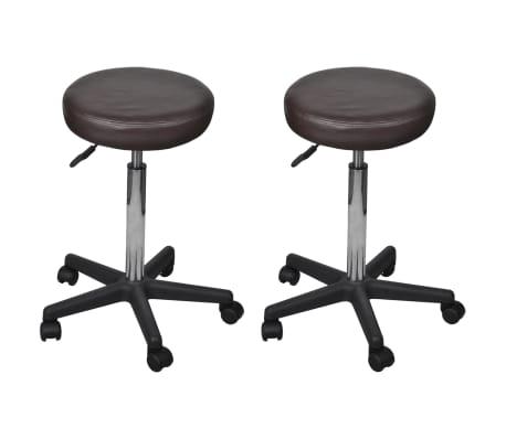 vidaXL Pisarniški stolčki 2 kosa umetno usnje 35,5x98 cm rjavi