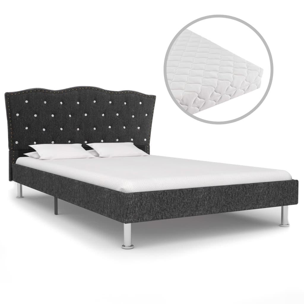 Bett mit Matratze Dunkelgrau Stoff 120 x 200 cm