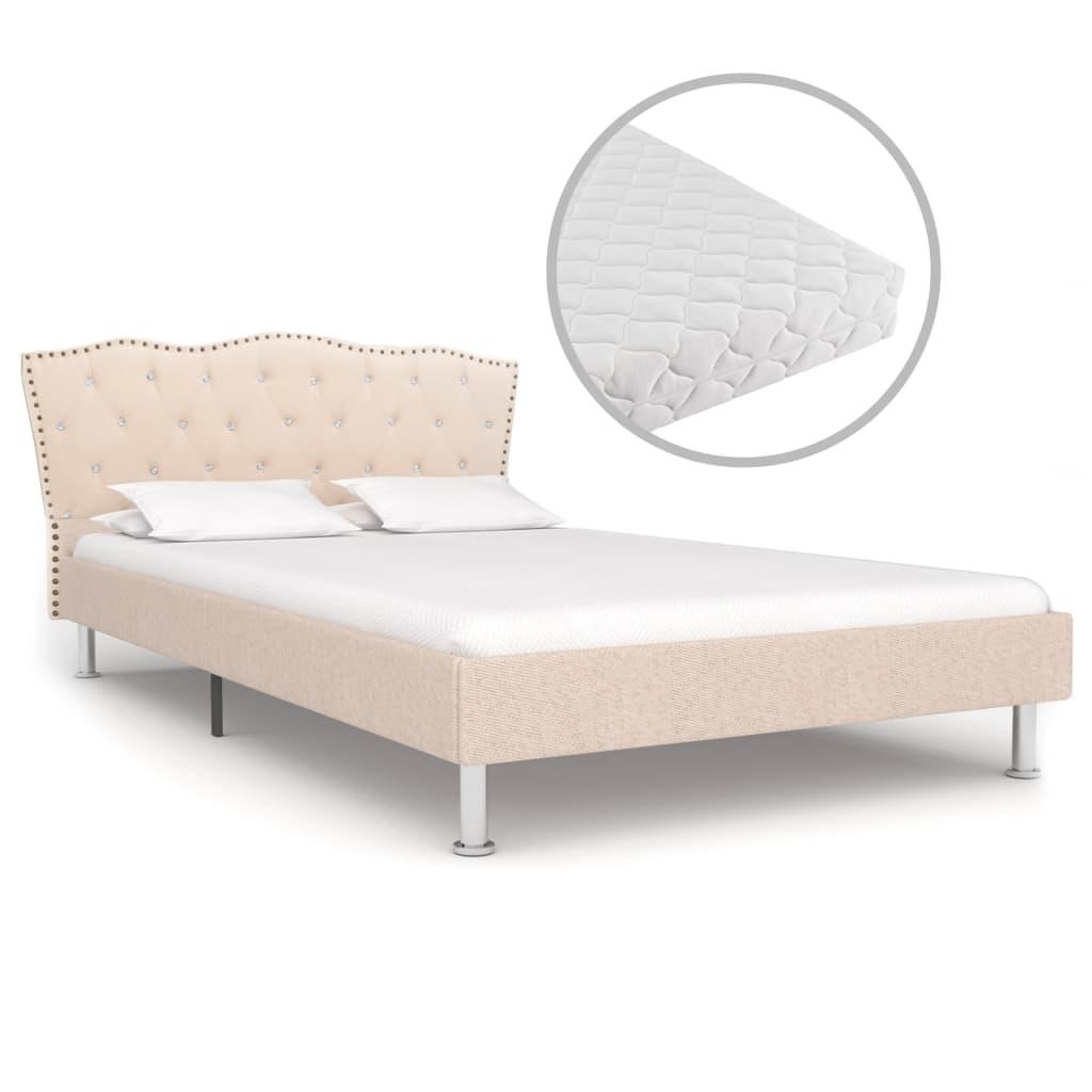 Bett mit Matratze Beige Stoff 120 x 200 cm