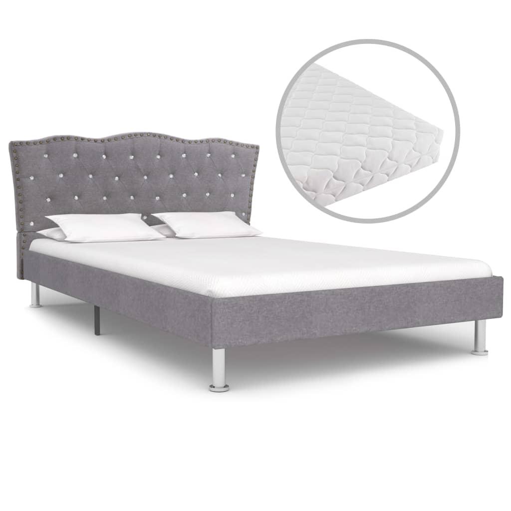 vidaXL Bed met matras stof lichtgrijs 120x200 cm