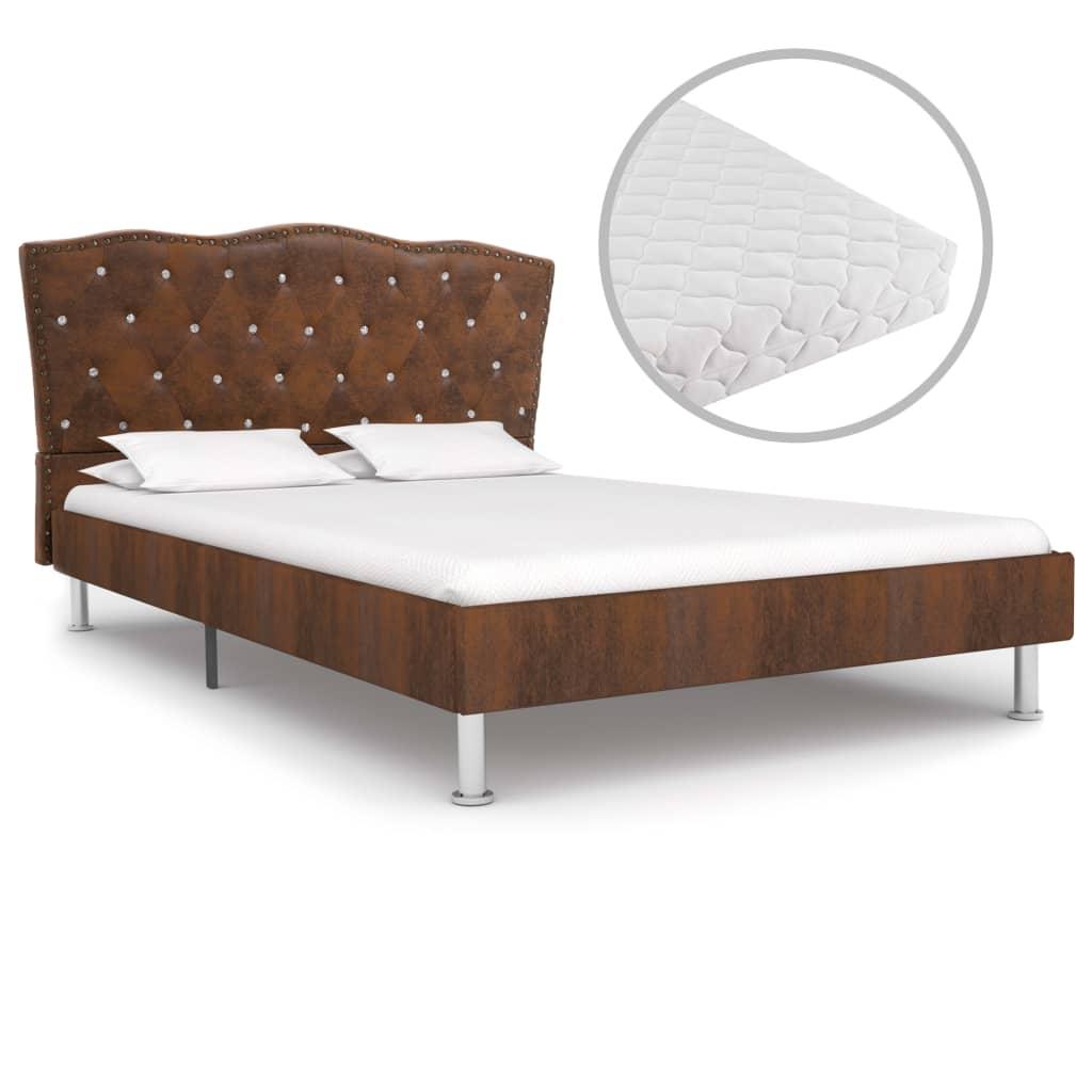 Bett mit Matratze Braun Stoff 120 x 200 cm