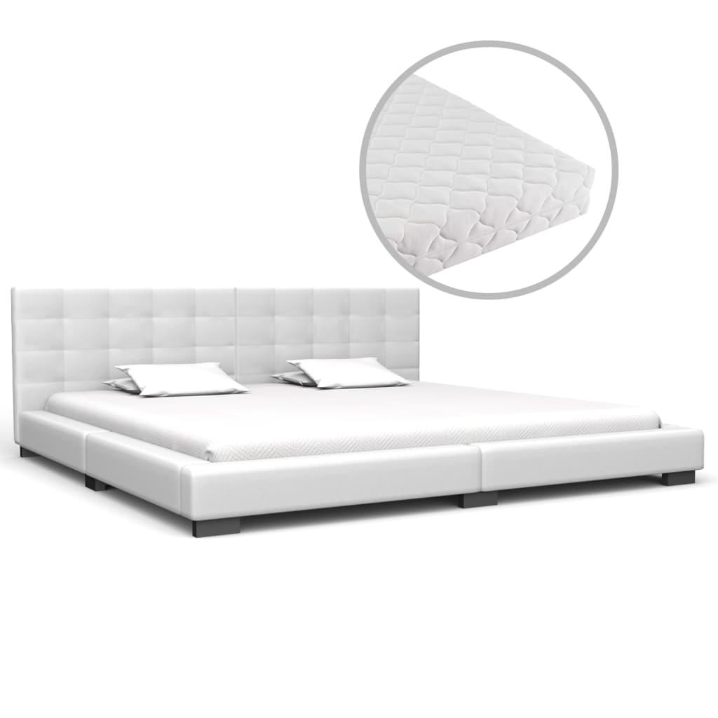 vidaXL Pat cu saltea, alb, 180 x 200 cm, piele ecologică vidaxl.ro