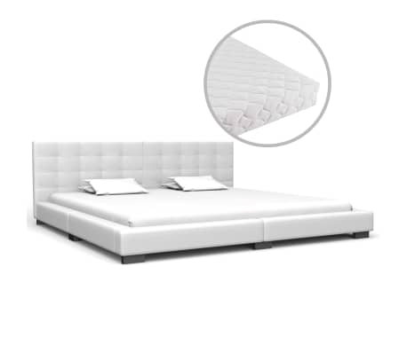 vidaXL Bed met matras kunstleer wit 180x200 cm
