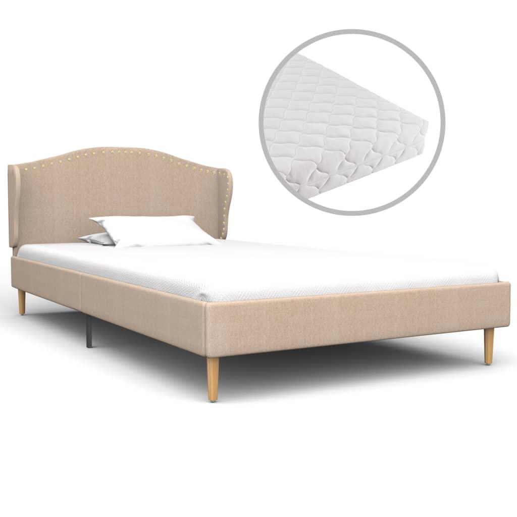 vidaXL Κρεβάτι Μπεζ 90 x 200 εκ. Υφασμάτινο με Στρώμα