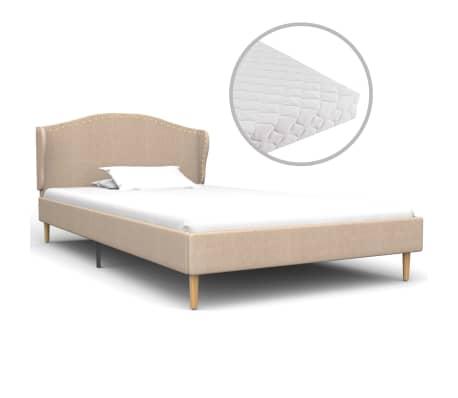 vidaXL Postel s matrací béžová látka 90 x 200 cm