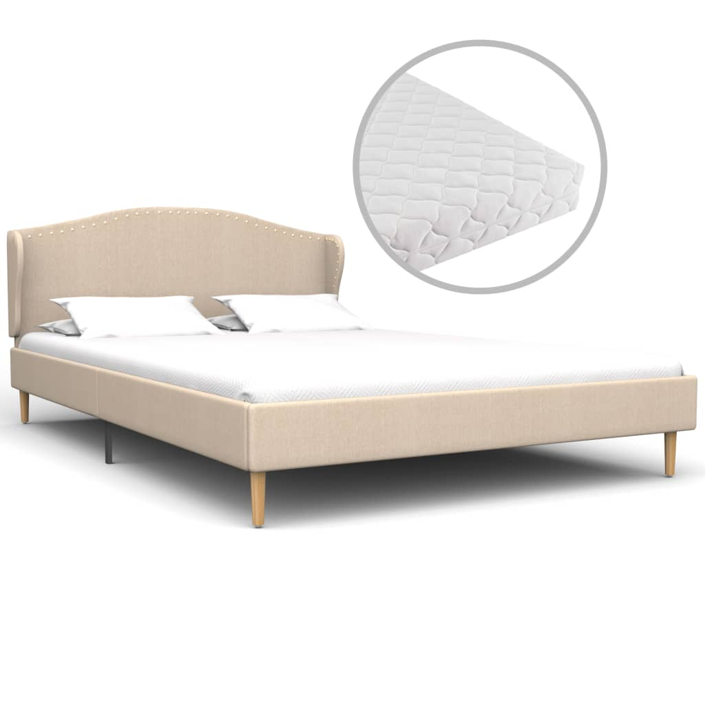 vidaXL Κρεβάτι Μπεζ 120 x 200 εκ. Υφασμάτινο με Στρώμα
