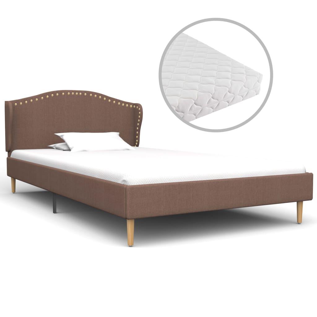 Bett mit Matratze Braun Stoff 90 x 200 cm