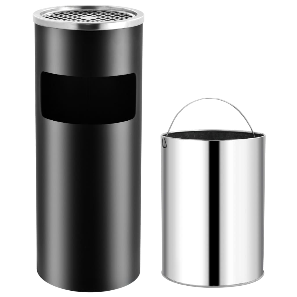 vidaXL Coș de gunoi cu scrumieră, pentru hotel, negru, oțel, 30 L poza vidaxl.ro