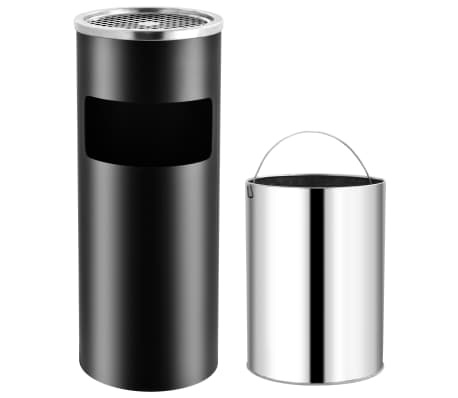 vidaXL Coș de gunoi cu scrumieră, pentru hotel, negru, oțel, 30 L