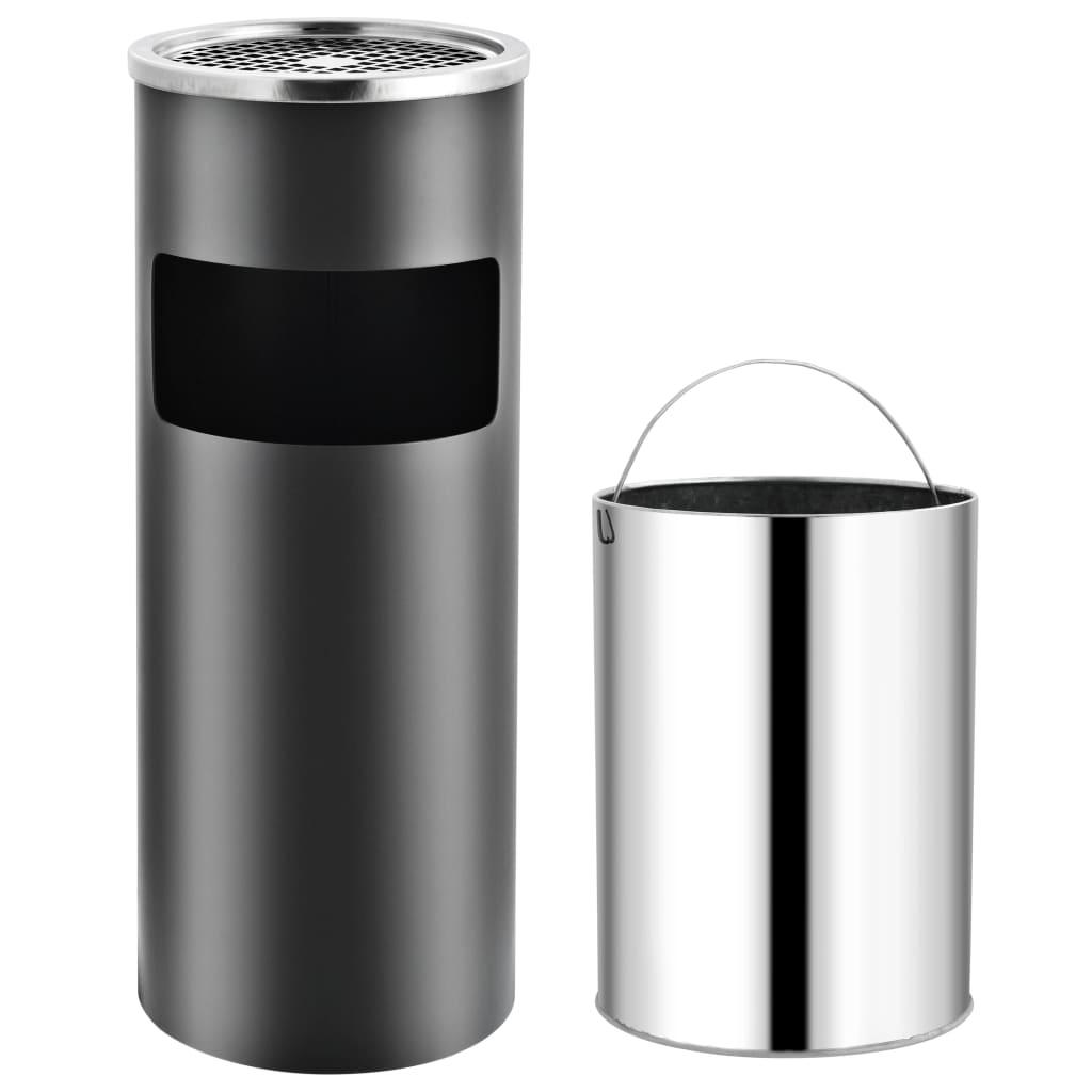 vidaXL Coș de gunoi cu scrumieră, pentru hotel, gri, oțel, 30 L poza vidaxl.ro