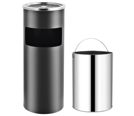 vidaXL Coș de gunoi cu scrumieră, pentru hotel, gri, oțel, 30 L