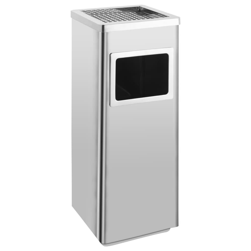 vidaXL Coș de gunoi cu scrumieră, pentru hotel, oțel inoxidabil, 36 L poza vidaxl.ro