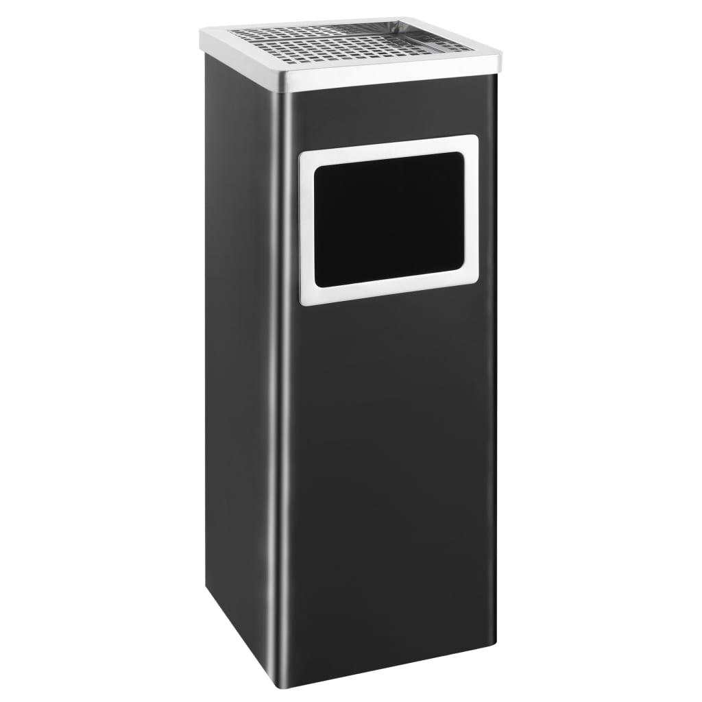 vidaXL Coș de gunoi cu scrumieră, pentru hotel, negru, oțel, 36 L poza vidaxl.ro
