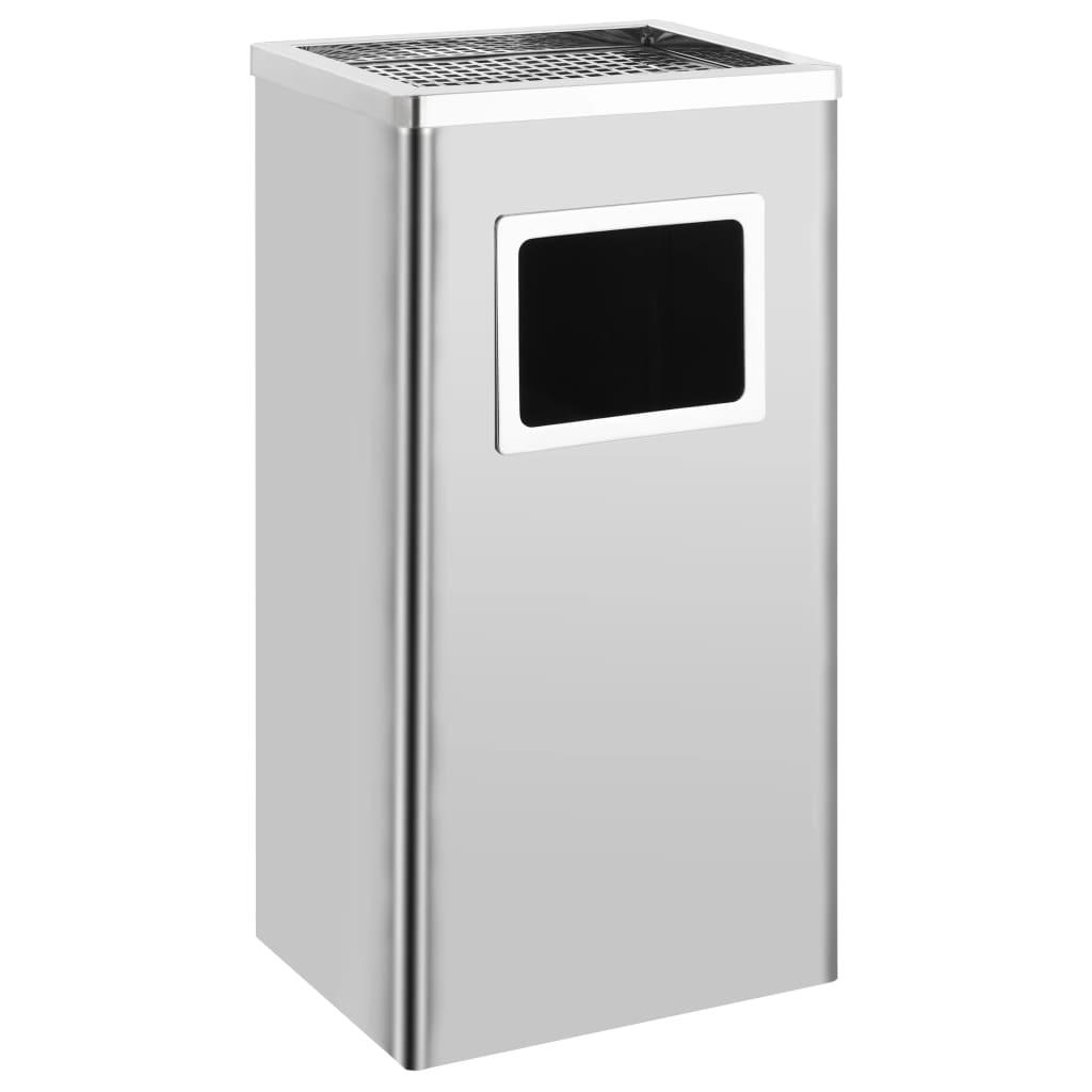 vidaXL Coș de gunoi cu scrumieră, pentru hotel, oțel inoxidabil, 45 L vidaxl.ro