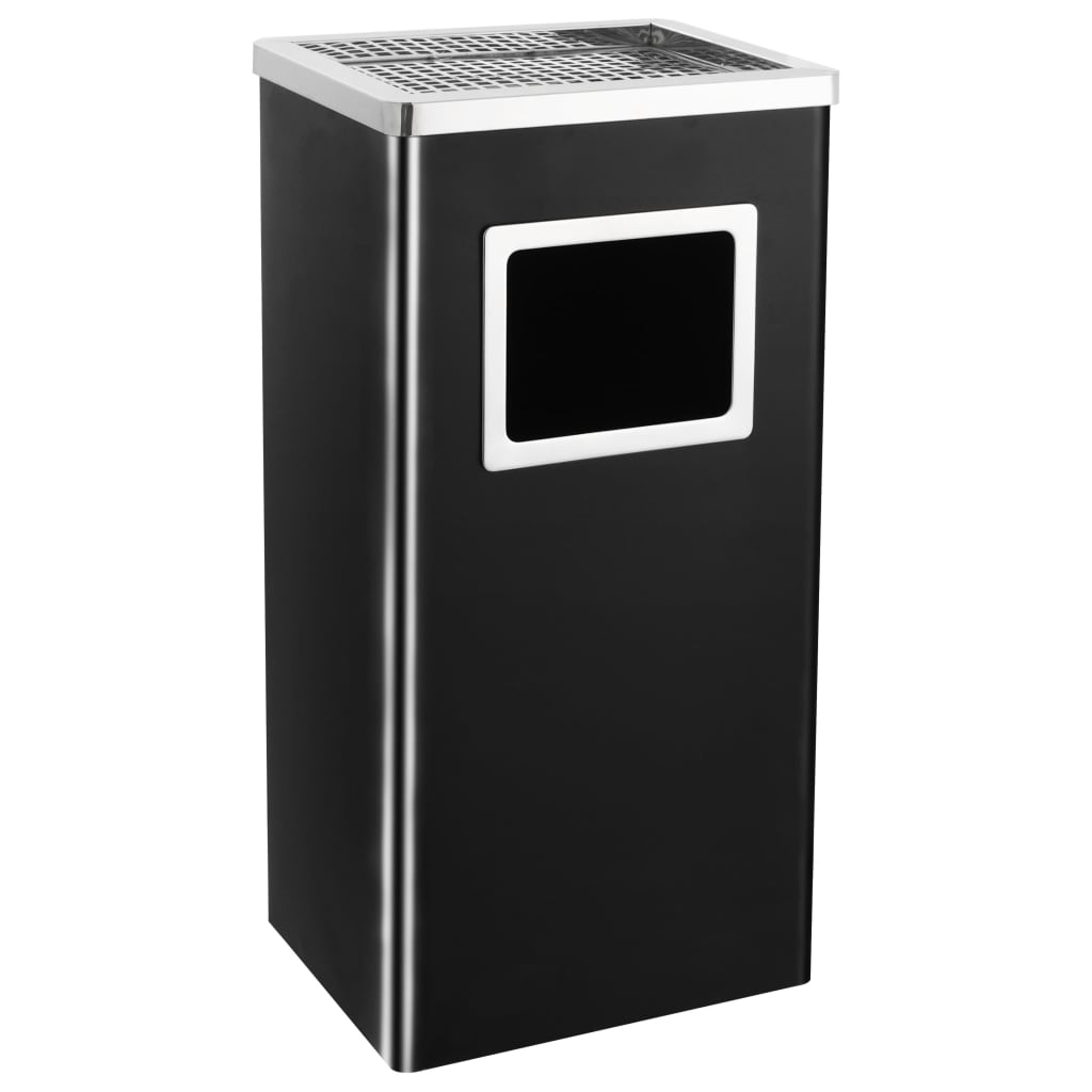 vidaXL Coș de gunoi cu scrumieră, pentru hotel, negru, oțel, 45 L poza vidaxl.ro