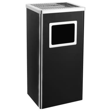 vidaXL Coș de gunoi cu scrumieră, pentru hotel, negru, oțel, 45 L[1/9]