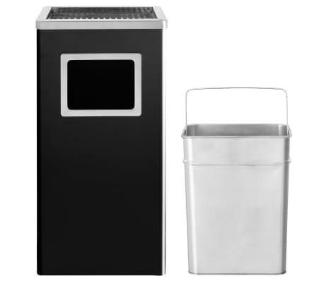 vidaXL Coș de gunoi cu scrumieră, pentru hotel, negru, oțel, 45 L[3/9]