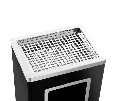 vidaXL Coș de gunoi cu scrumieră, pentru hotel, negru, oțel, 45 L[7/9]