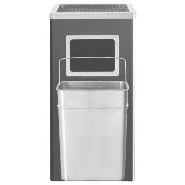 vidaXL Coș de gunoi cu scrumieră, pentru hotel, negru, oțel, 45 L[4/9]