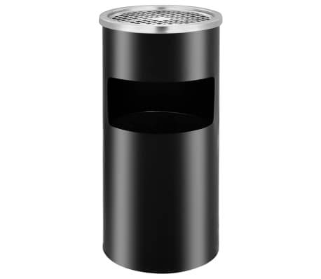 vidaXL Wall Ashtray Dustbin Steel 26 L Black