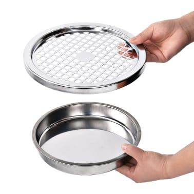vidaXL Sieninė šiukšliadėžė-peleninė, juodos spalvos, plienas, 26l[6/9]