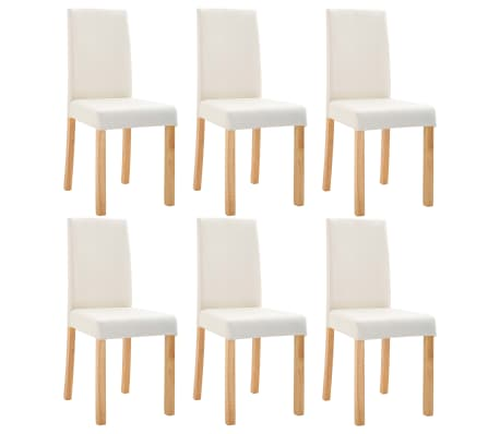 vidaXL Dining Chairs 6 pcs Cream Faux Leather