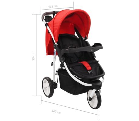 vidaXL Vaikiškas triratis vežimėlis, raudonos ir juodos spalvos[10/10]