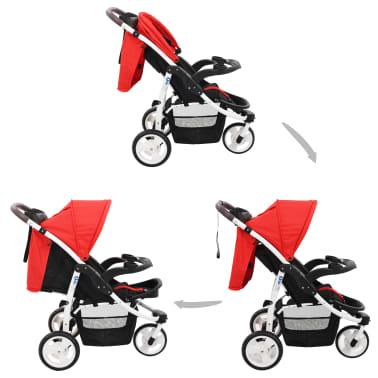 vidaXL Vaikiškas triratis vežimėlis, raudonos ir juodos spalvos[2/10]