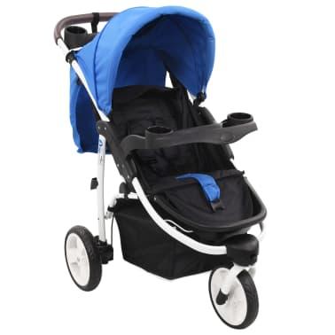 vidaXL Vaikiškas triratis vežimėlis, mėlynos ir juodos spalvos[1/11]