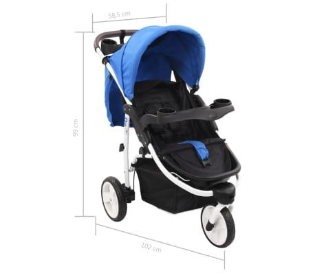 vidaXL Vaikiškas triratis vežimėlis, mėlynos ir juodos spalvos[11/11]